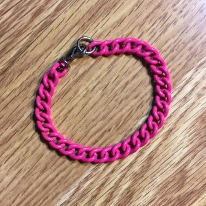 Neon pink chain link bracelet